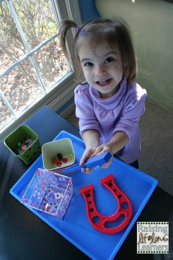 Hands On Fun for Little Ones - Magnet Play via www.RaisingLifelongLearners.com