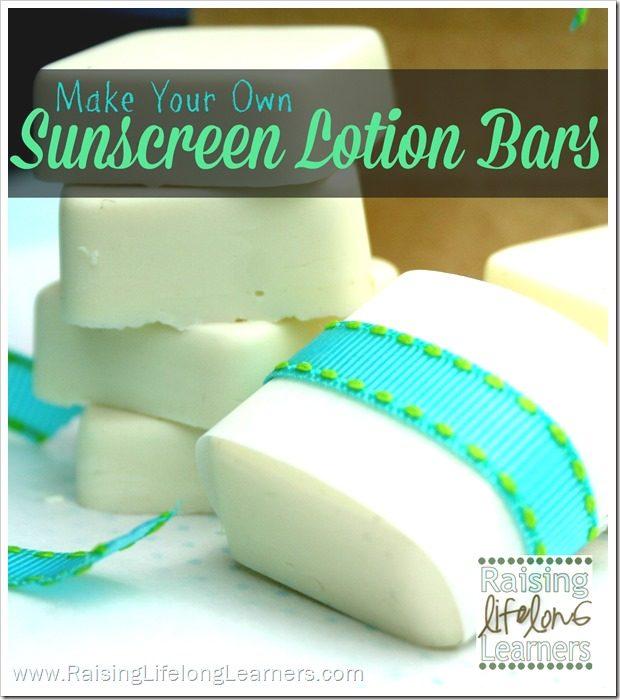 Make Your Own Sunscreen Lotion Bars via www.RaisingLifelongLearners.com