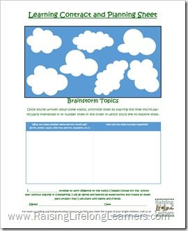 Learning Contract and Planning Sheet via www.RaisingLifelongLearners