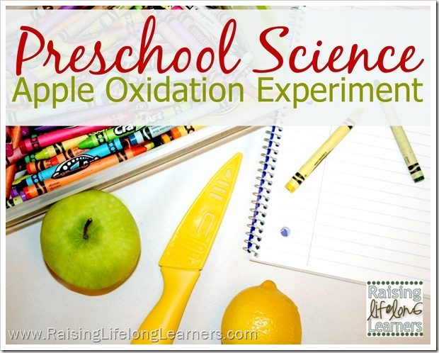 Preschool Science Apple Experiment via www.RaisingLifelongLearners.com