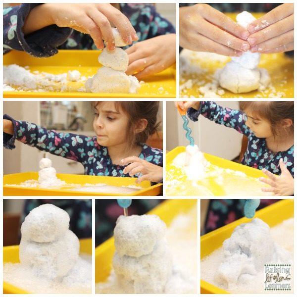 Melting Snow Dough Snowmen With Vinegar