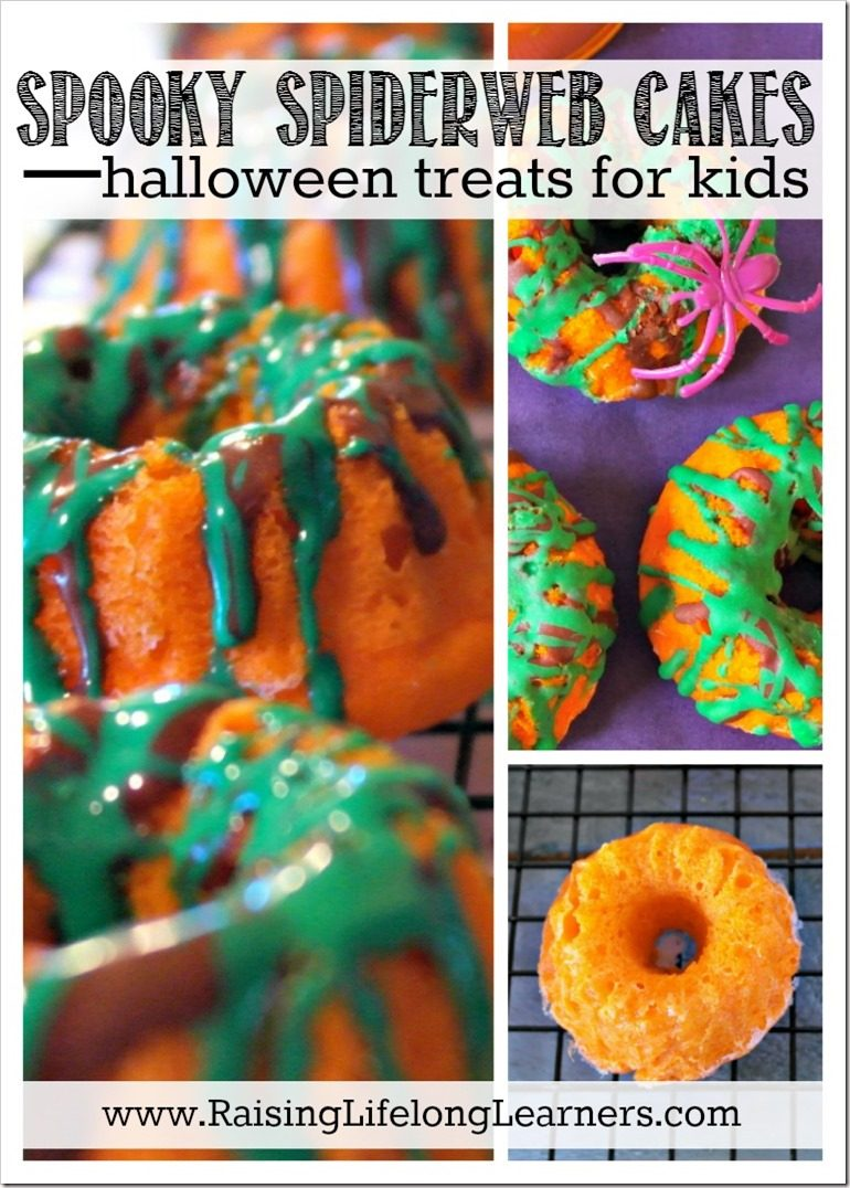 Looking for a fun Halloween recipe to try with your kids? Check out these simple and delicious spooky spider web cakes... Raisinglifelonglearners.com #Halloween #spidercakes #treatsforkids