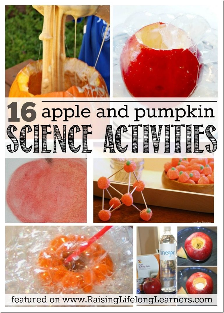 Looking for som fun fall science to try at home? Try these 16 apple and pumpkin science activities -- your kids will have a blast! Raisinglifelonlearners.com #apple #pumpkin #STEM #science #fallscience #fallactivities