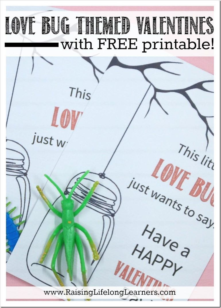 love bug themed valentines with free printable
