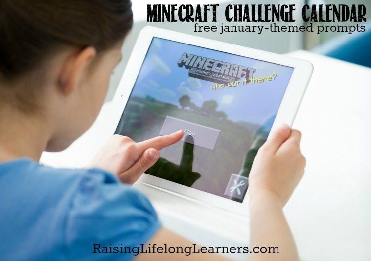 January Minecraft Challenge Calendar