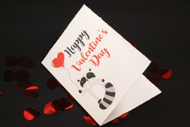 Cute Raccoon Valentines Day Card - Free Printable