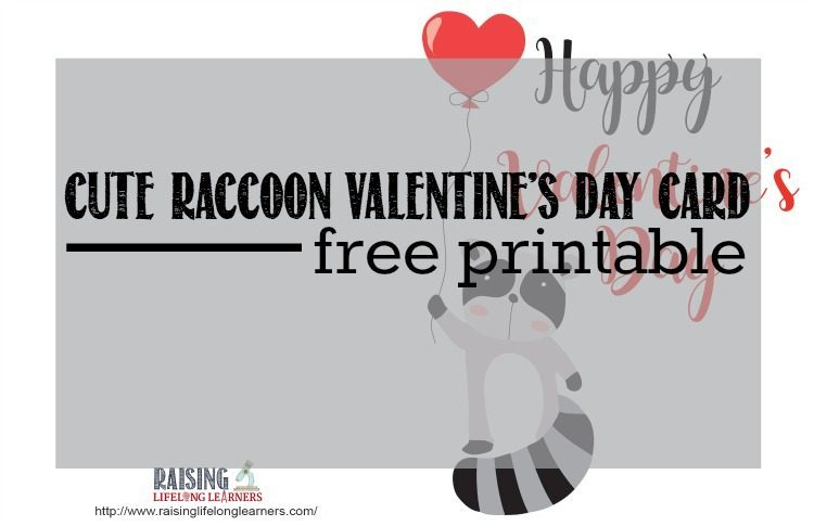cute raccoon valentines day card free printable