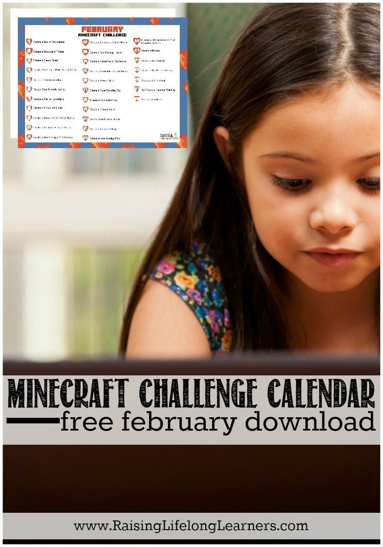 February Minecraft Calendar - Free Download-Ready for a FREE printable Minecraft Challenge Calendar for February to keep your kids (and you) from getting the February doldrums? Download yours now...