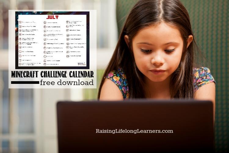 Free July Minecraft Challenge Calendar