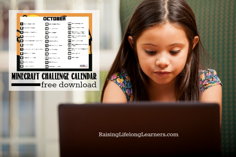 Free October Minecraft Challenge Calendar