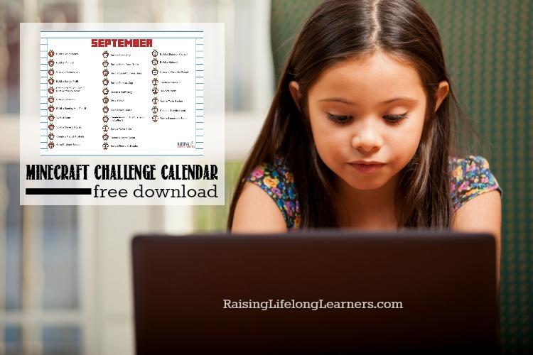 Free September Minecraft Challenge Calendar