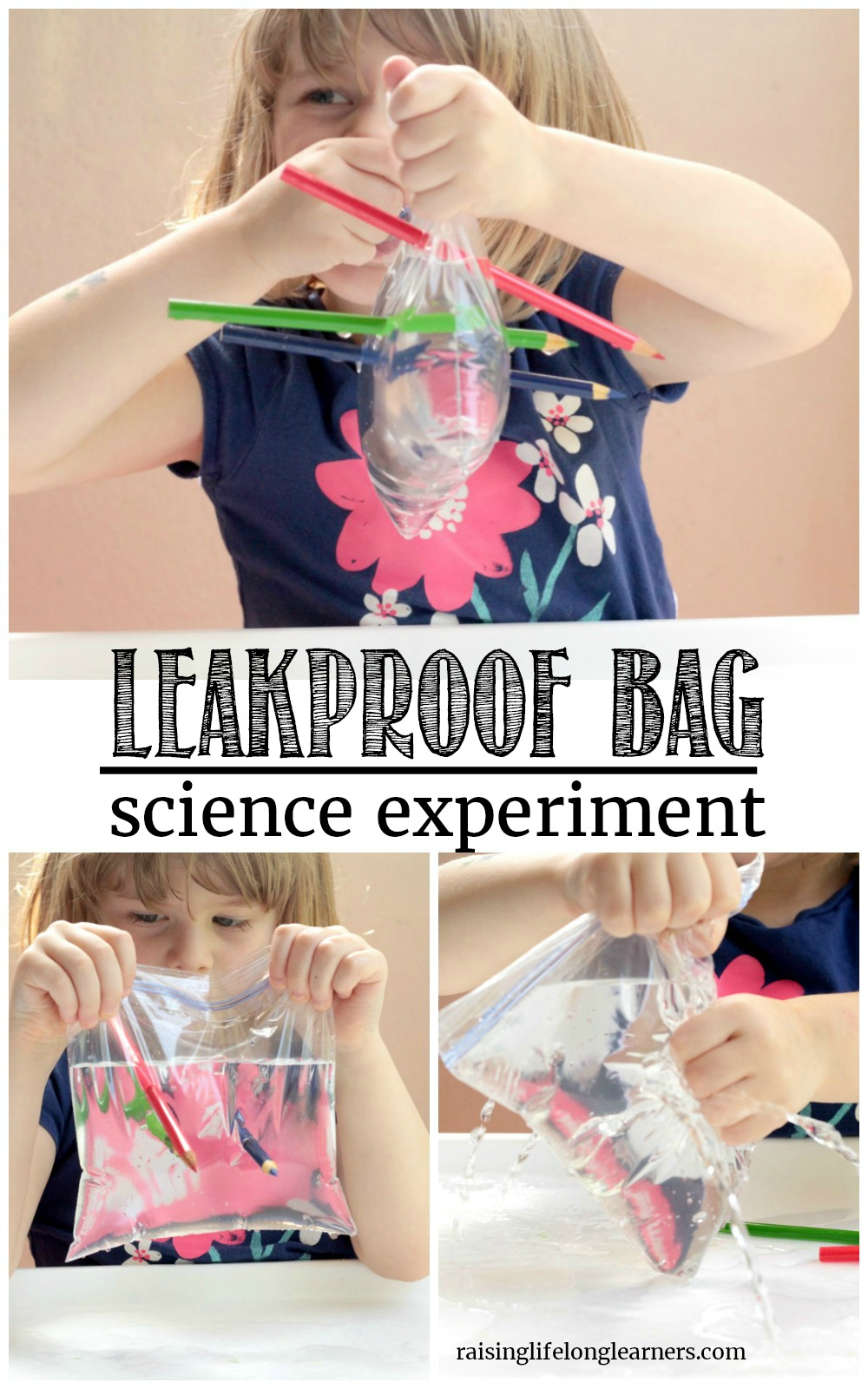 Kids will love trying the classic science experiment of the leak proof bag! Just a pencil and a bag produces the most impressive science demonstration.