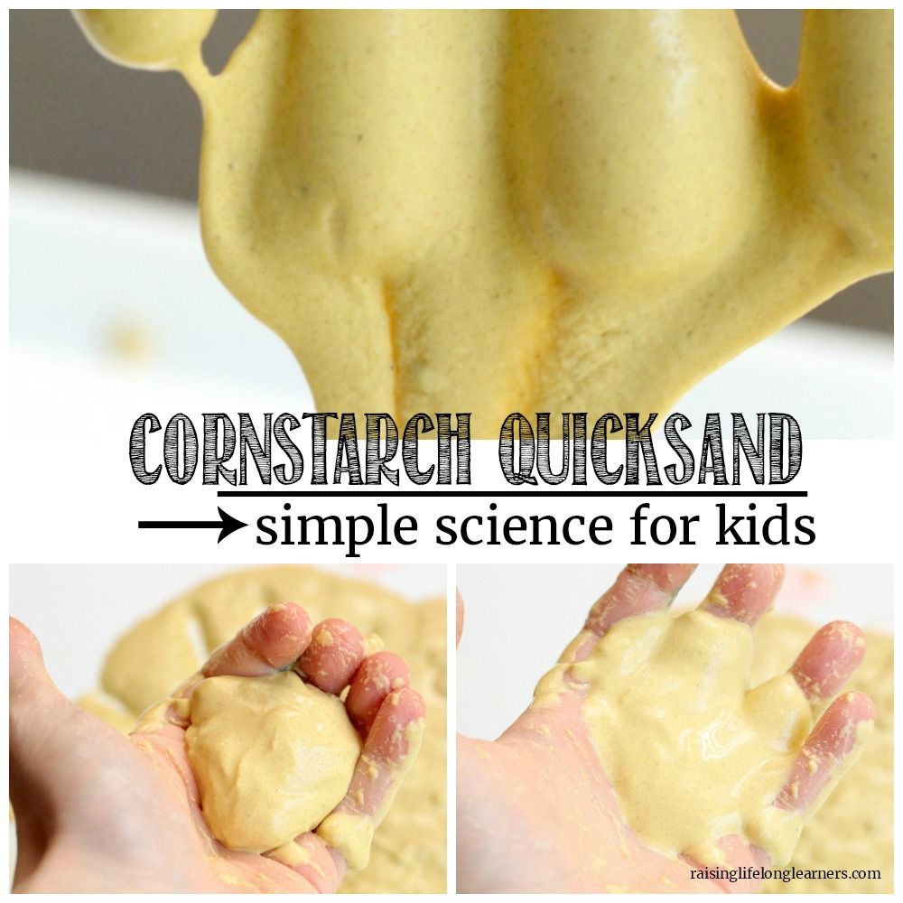 Kids will love this fun demonstration of a Non-Newtonian fluid with cornstarch quicksand! The sand is fun to play with and kids will love it!