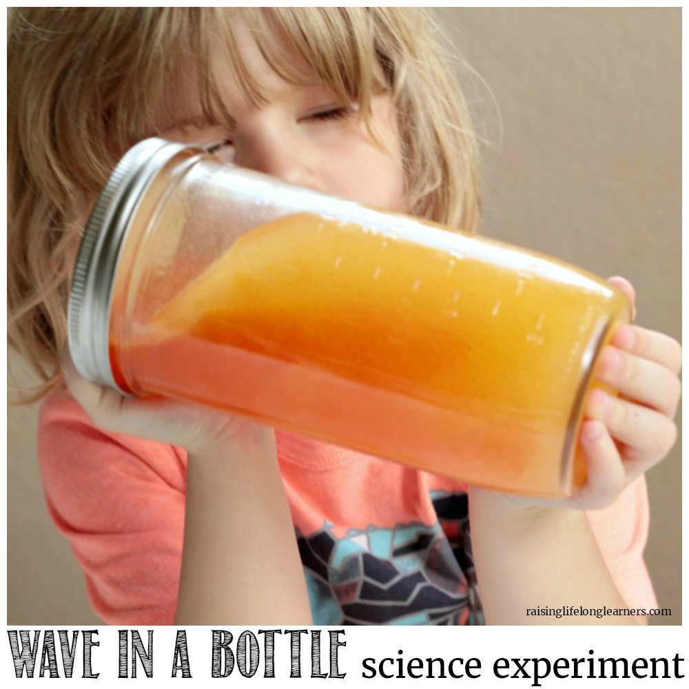 Make your own wave bottle using just oil and water! It's a fun way to explore the science of molecules with young kids interested in science!