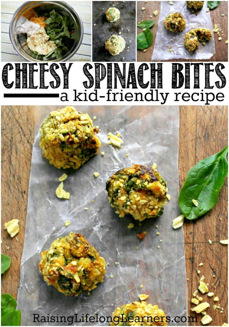 Cheesy Spinach Bites RecipeWhat could be easier than throwing together these baked cheesy spinach bites in the middle of the homeschool day for a yumy lunch?