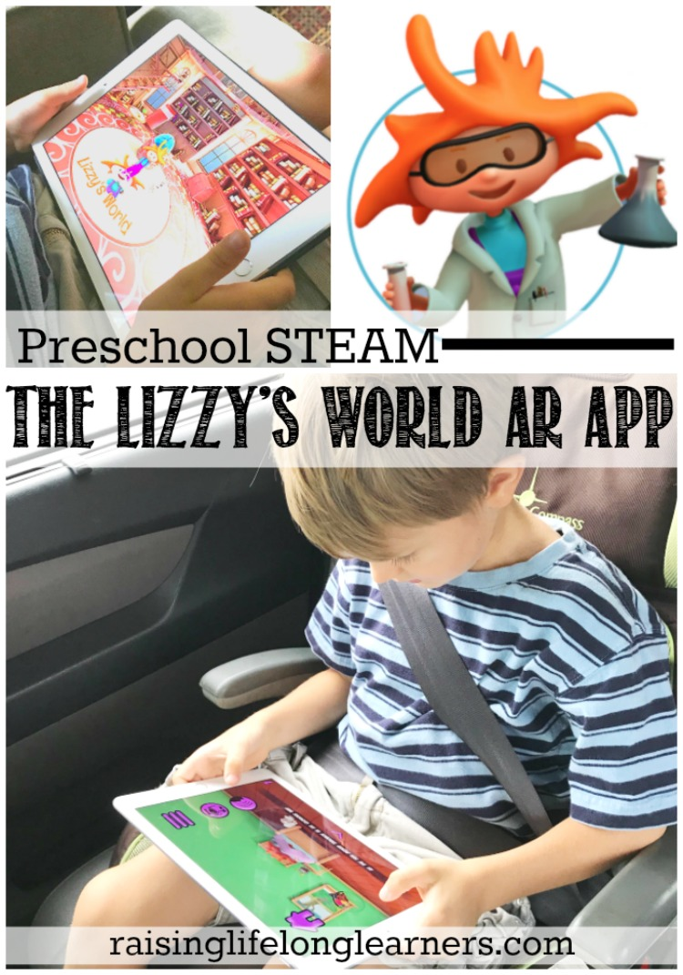 I like to have a couple of drive-and-wait-only games and apps in my pocket for my preschooler, and he is loving the new Lizzy's World Augmented Reality App. Raisinglifelonglearners.com #homeschooling #homeschooltech #preschool #STEAM #EducationalAPP