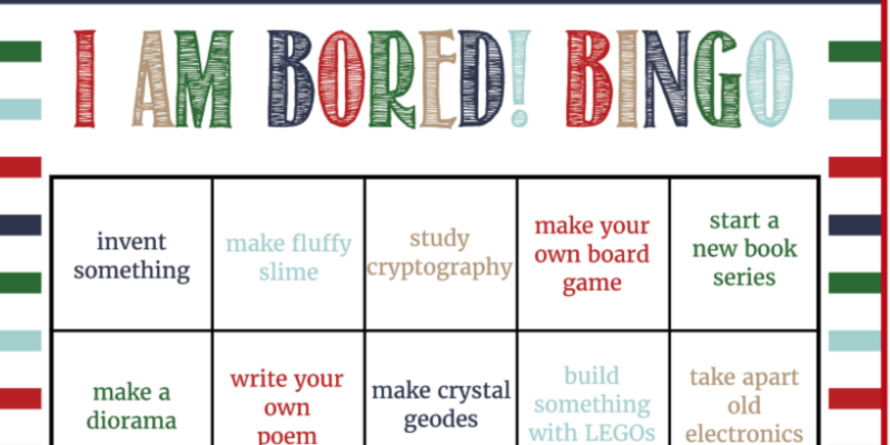 Beat Boredom at Home | Free Bingo Card