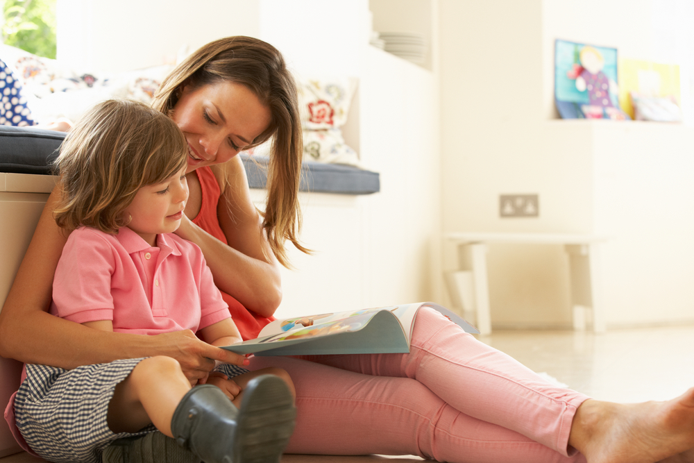 mom reading with child